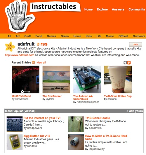 adafruit instructables group adafruit industries