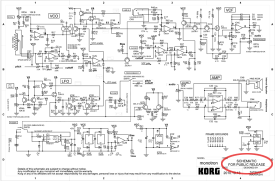hackers react to korg monotron synth schematic adafruit industries rh blog adafruit com Schematic Circuit Diagram Residential Electrical Wiring Diagrams