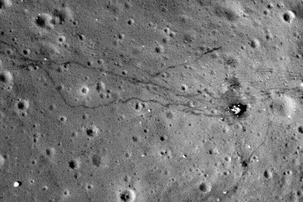 Spacecraft Photos Reveal Lunar Landing Sites and Tire Tracks