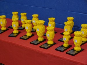 Teams who win awards receive these LEGO trophies.