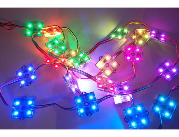new product 36mm square 12v digital rgb led pixels strand of 20 ws2801 rgb pixels are digitally controllable lights you can set to any color