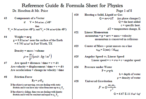 Eebookshelf reference guide formula sheet for physics