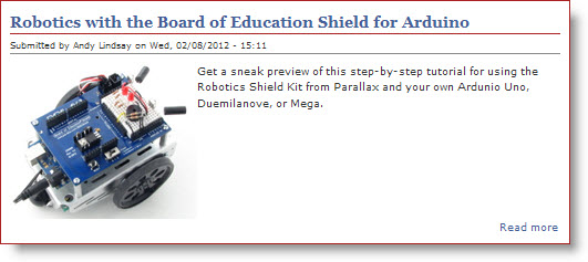 Robotics with the BOE Shield link on the learn.parallax.com home page