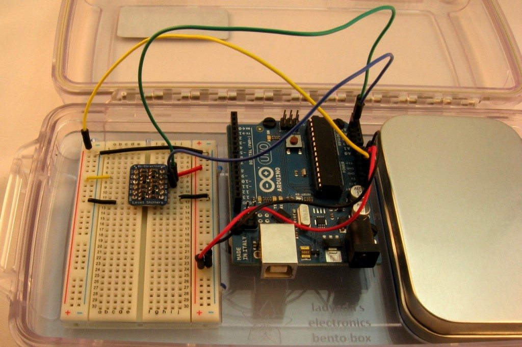 Adding the level converter to the breadboard