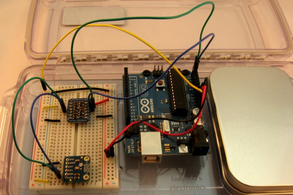 Adding the light sensor to the breadboard