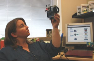 Stephanie Lindsay's BOE Shield-Bot sniffs for infrared interference in her office at Parallax Inc. headquarters.