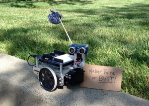 BOE Shield-Bot heading to Maker Faire, with a Ping))) Sensor for safe traveling