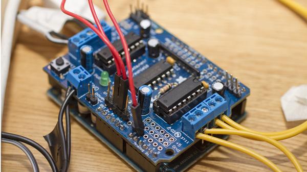 Uses our Adafruit Motor/Stepper/Servo Shield for Arduino kit – v1.0!