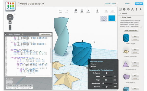 Shape Scripts API for @Tinkercad « Adafruit Industries