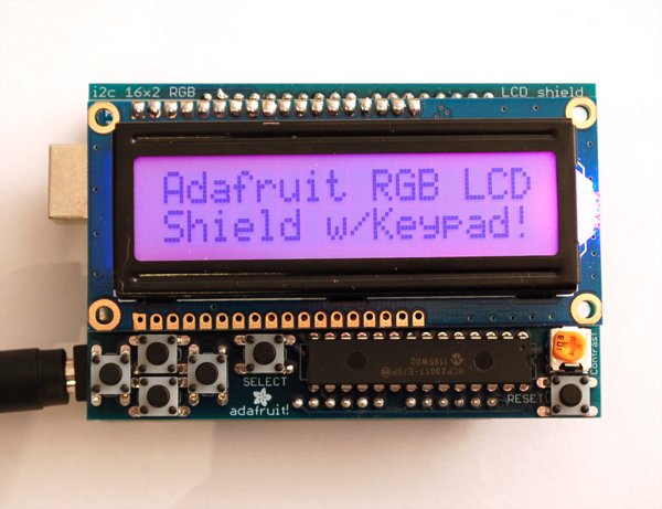 Adafruit RGB LCD shield w Keypad
