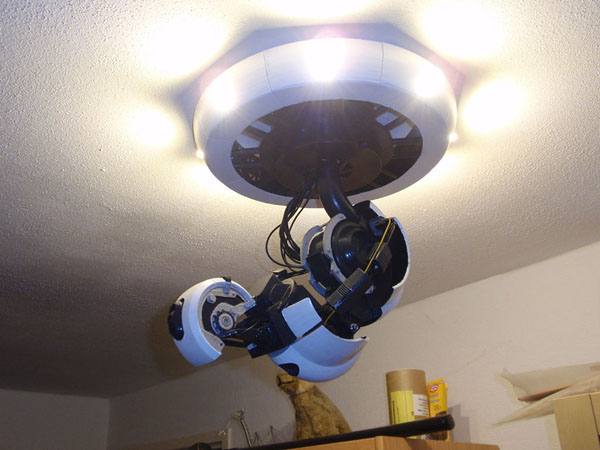 3D Printable GlaDOS Robotic Arm Ceiling Lamp 3dthursday Adafruit Industrie