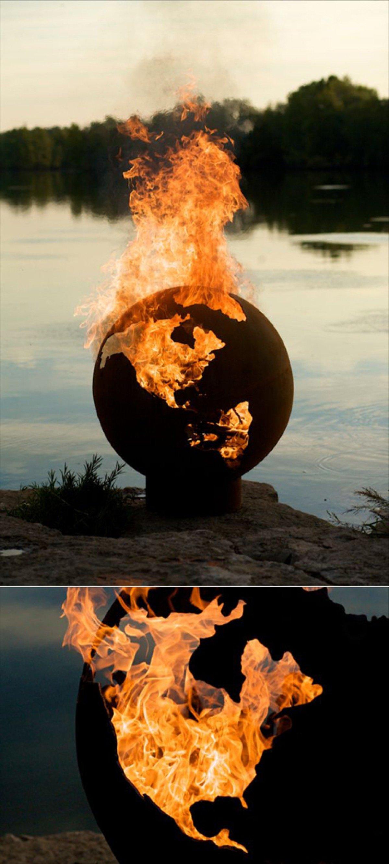 "Globe Fire Pit : Flaming globe by ""fire pit rick « adafruit industries"