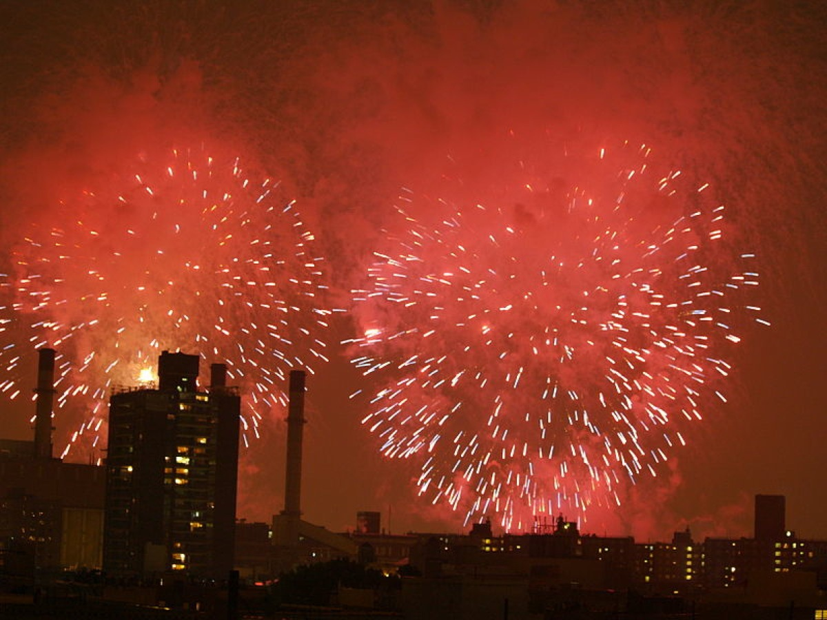 Fireworks Over The East Village Of New York City