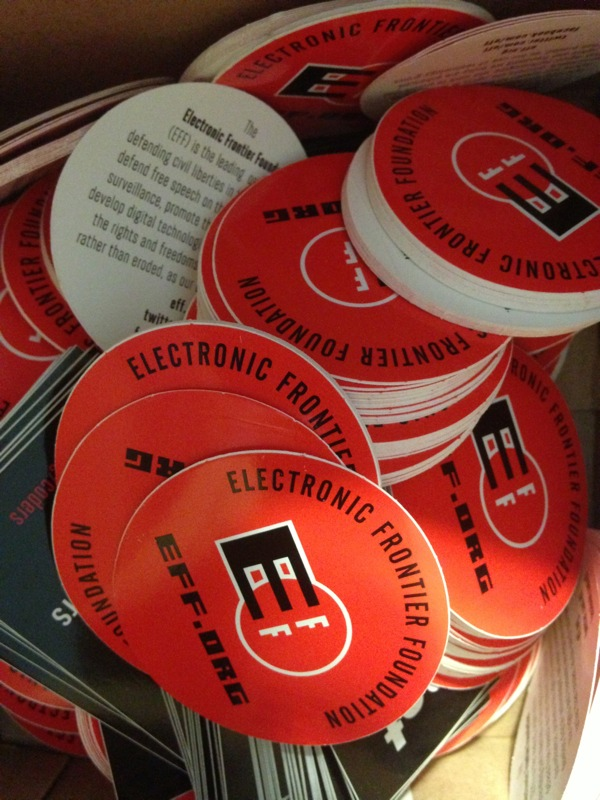 eff stickers in some of the orders today at adafruit eff eff