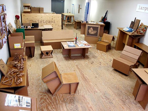Furniture is made from recycled cardboard with no glue or for Flat pack muebles