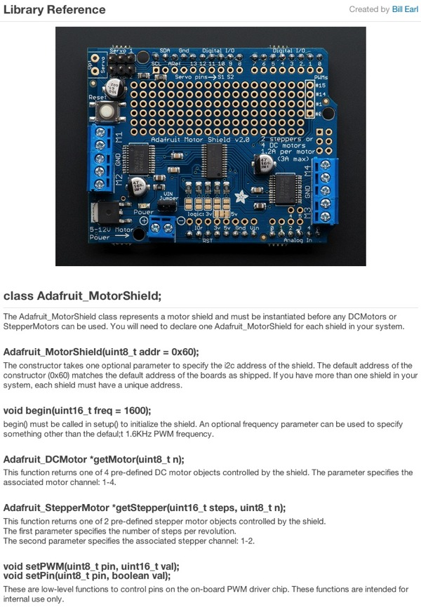 Updated tutorial library reference adafruit motor