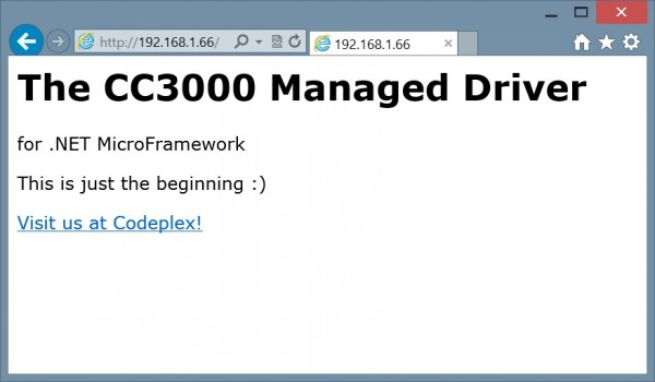 CC3000 Managed Driver Web Server Demo