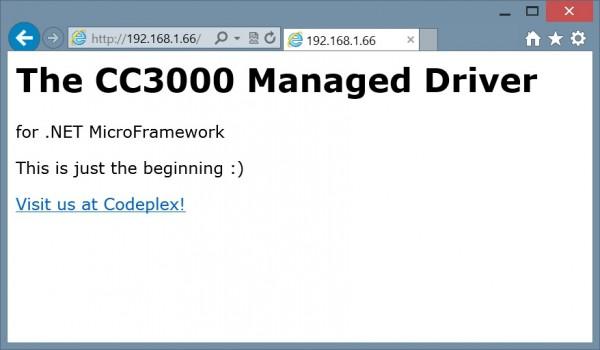 CC3000 Managed Driver Web Server Demo