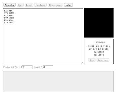 6502 emulator screenshot