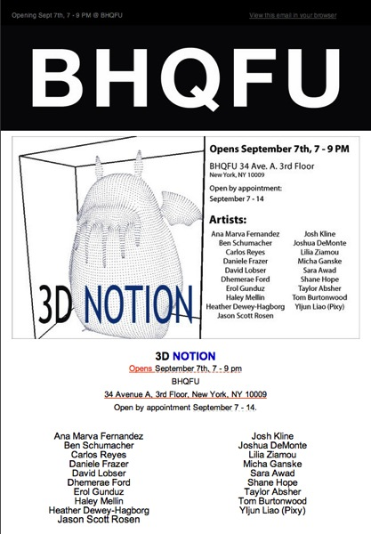 3D NOTION opening this Saturday at 7 2