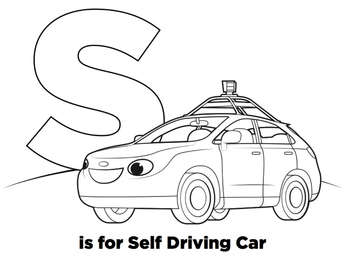 s is for self driving car r is for robots coloring book