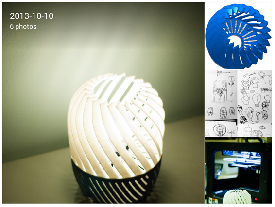 Jose Pacheco Google New 3D printed lamp I have designed and made at the FabLab