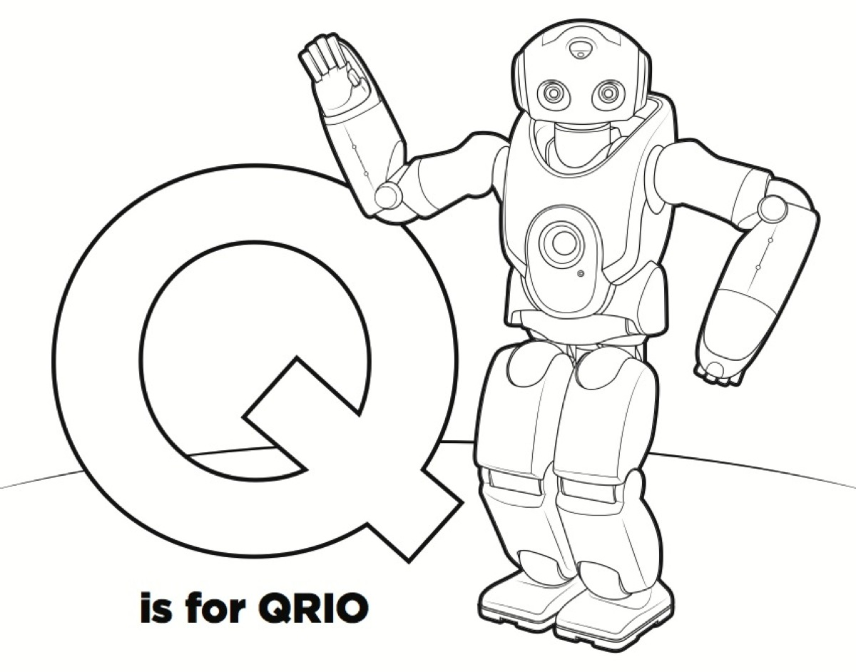 r is for robot coloring page - photo #15