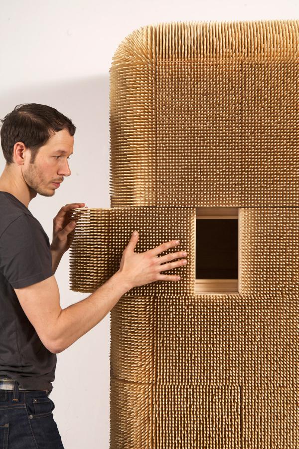 Sebastian Errazuriz's Magistral Cabinet Made of 80,000 Wood Dowels ...