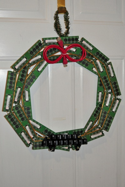 Christmas Wreath Made From Recycled Computer Parts