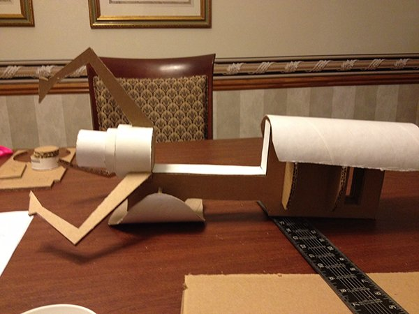 cardboard portal gun in progress