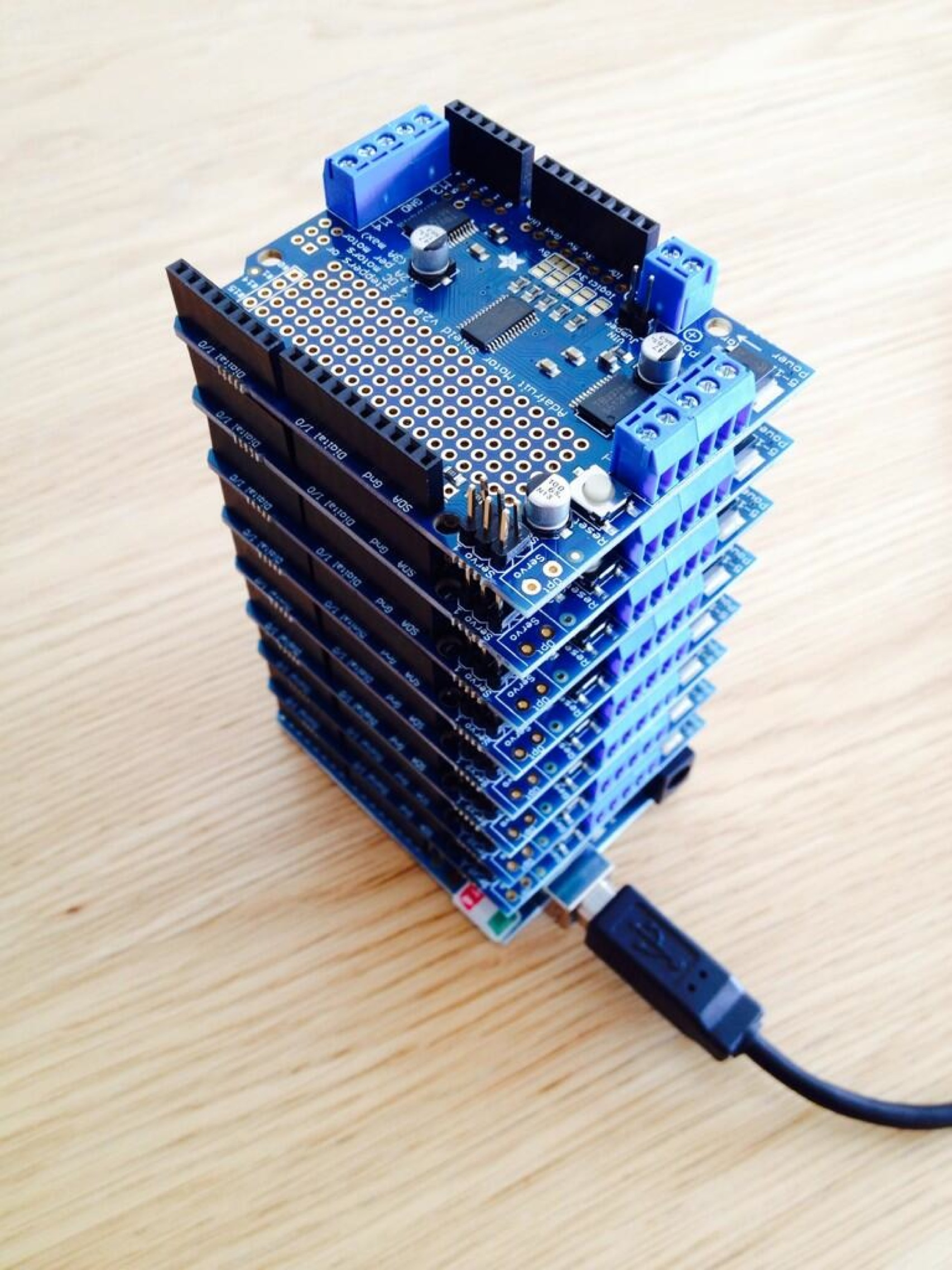 A tower of adafruit motorshields for arduino by dhdpic
