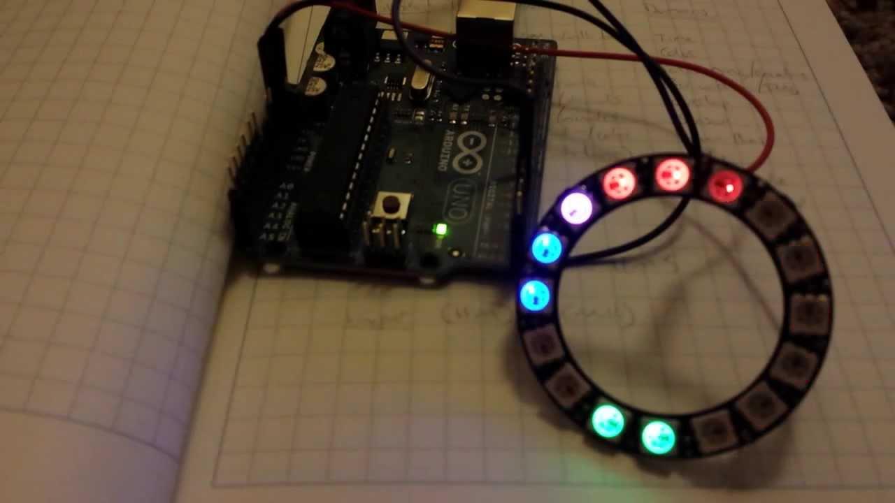 Arduino rgb led clock with adafruit neopixel ring