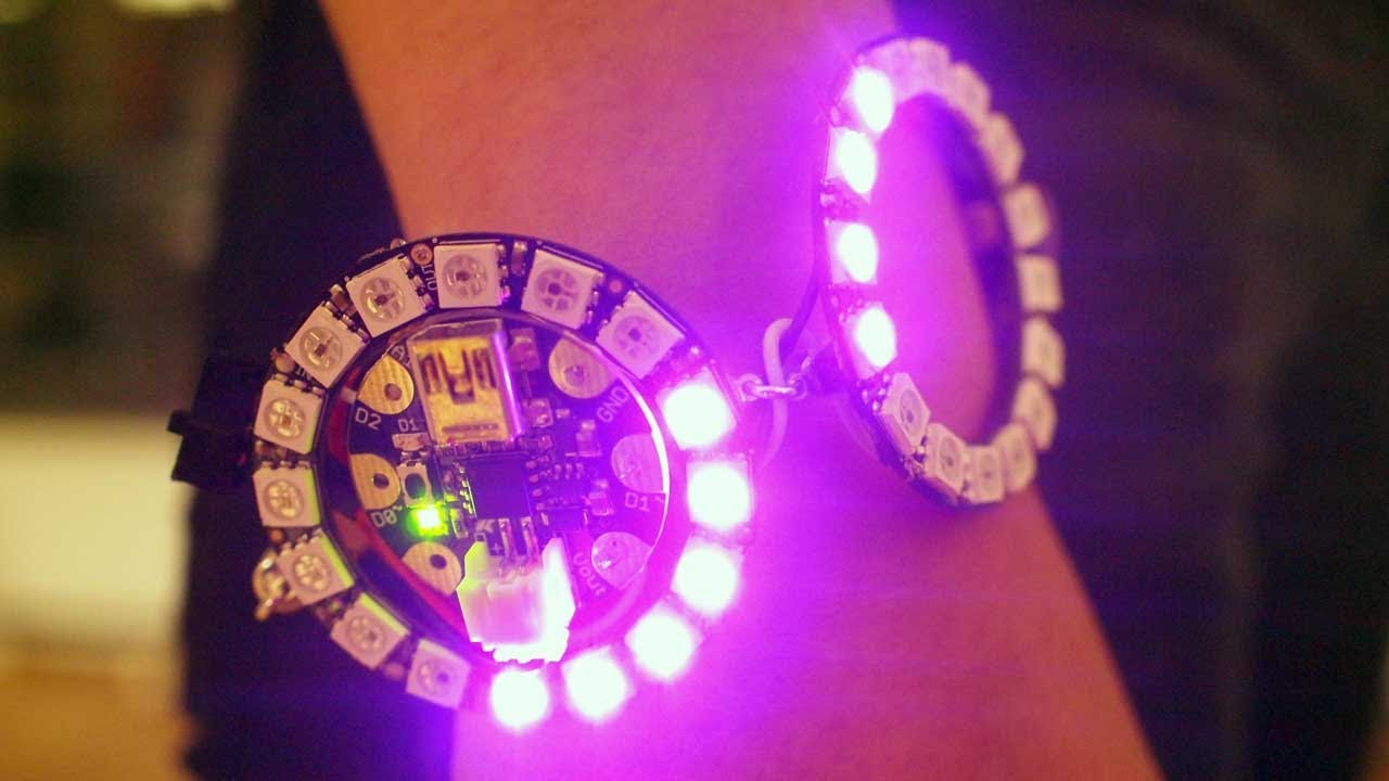 Neopixel ring bangle bracelet with gemma