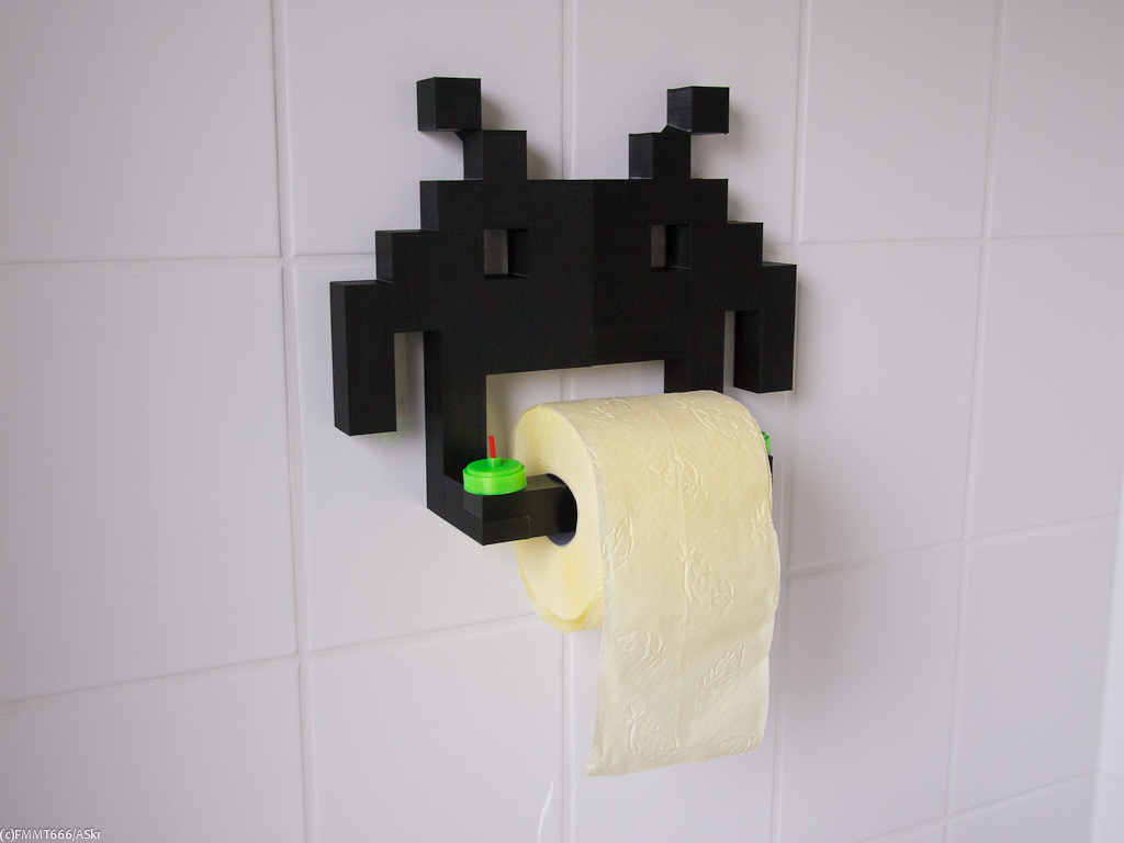 3D Printed Space Invader Toilet Paper Holder