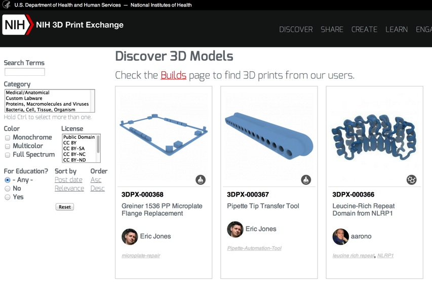 Discover 3D Models NIH 3D Print Exchange