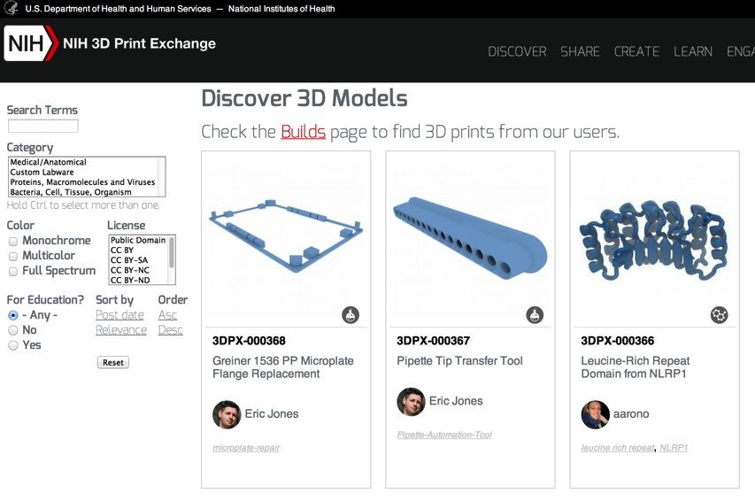 Discover 3D Models NIH 3D Print Exchange