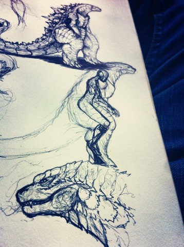 Godzilla costume concept art