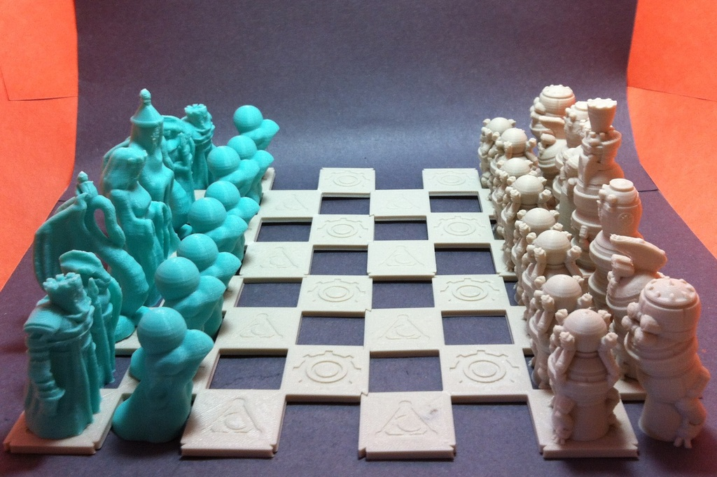 3D Printed Robots VS Wizards Chess Set