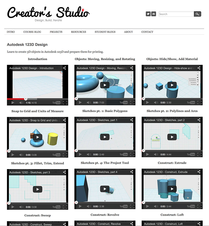 Creators Studio Autodesk 123D Design Tutorials