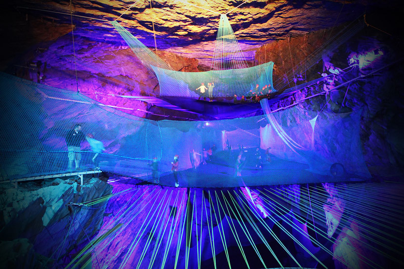 Welsh mining cavern hides the world largest underground trampoline designboom 03