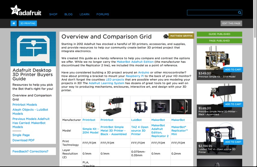 Overview and Comparison Grid Adafruit Desktop 3D Printer Buyers Guide Adafruit Learning System and New Tab
