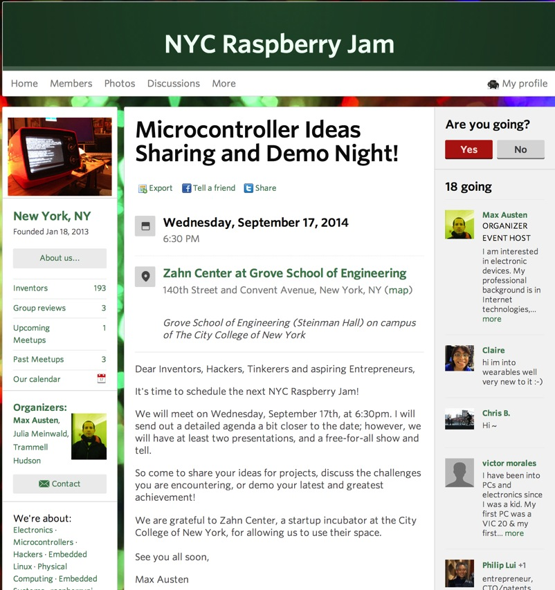 Microcontroller Ideas Sharing and Demo Night NYC Raspberry Jam New York NY Meetup