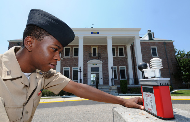 WUWT Temp US Navy 100524 N 5328N 671 Cryptologic Technician Technical Seaman Antron Johnson Gray checks the wet bulb globe temperature meter 660x426