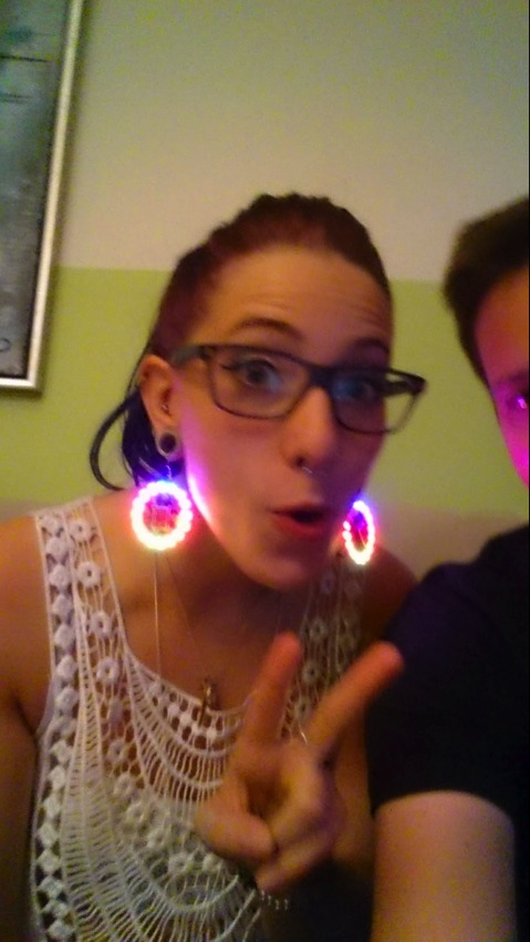 Slickstreamer Neopixel VU earrings wearable arduino adafruit