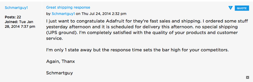 Adafruit customer service forums View topic Great shipping response