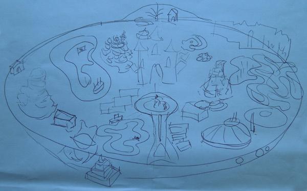 Disneyland map costume sketch