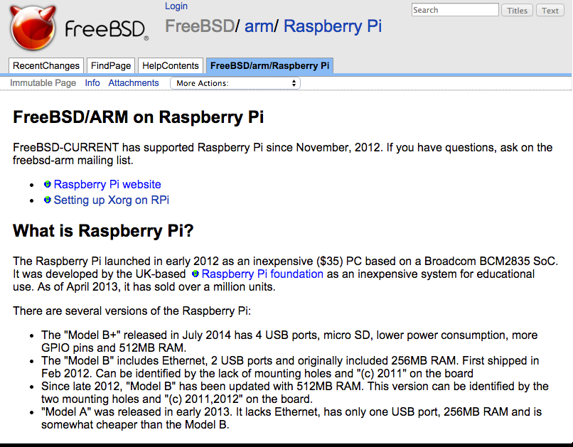 FreeBSD arm Raspberry Pi FreeBSD Wiki
