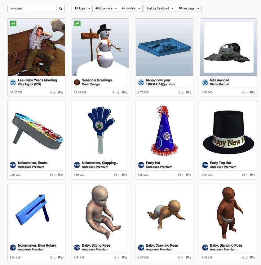 New year 3D models Autodesk 123D