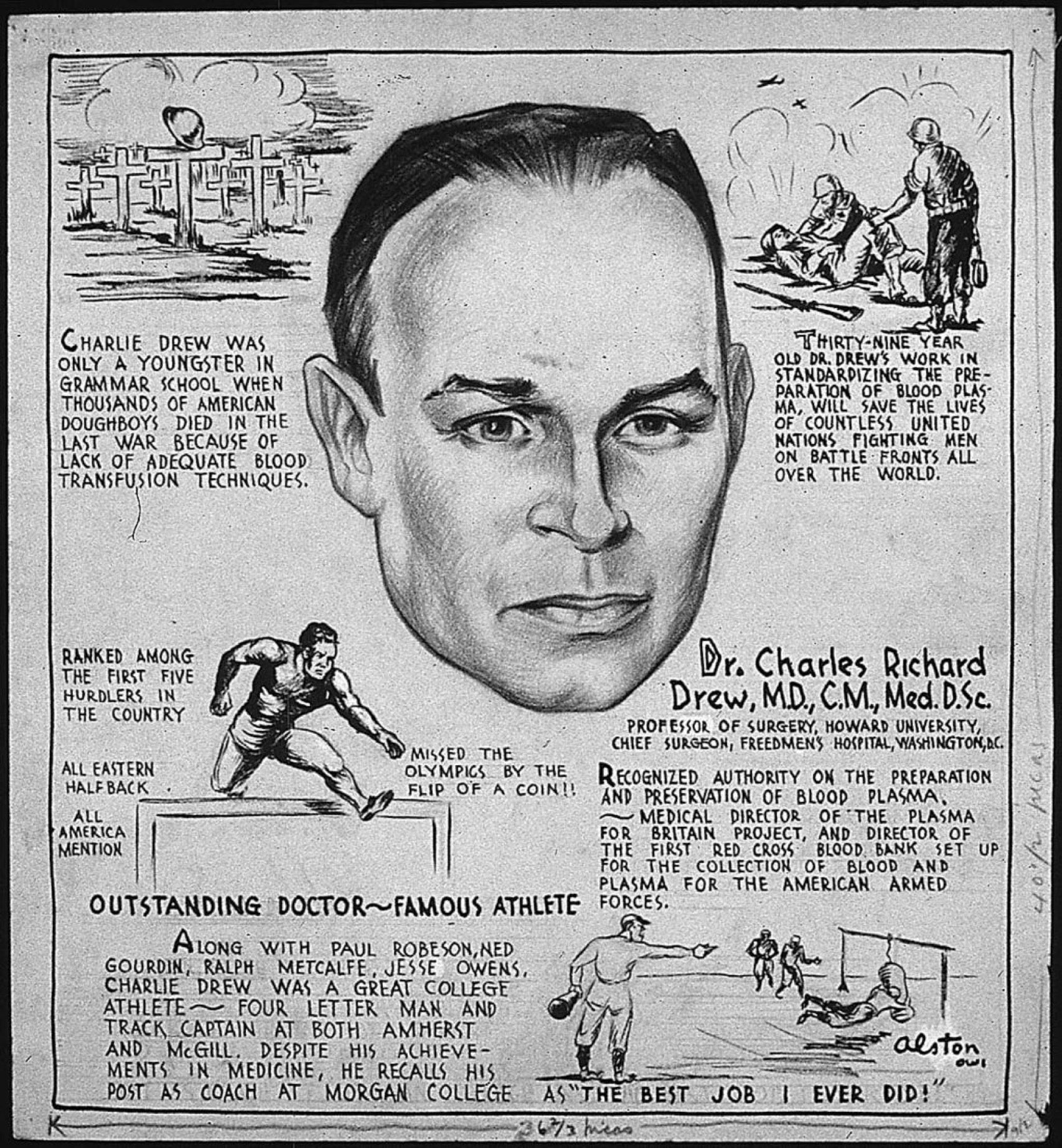 dr charles drew Charles richard drew, the african american surgeon and researcher who  organized america's first large-scale blood bank and trained a generation of  black.