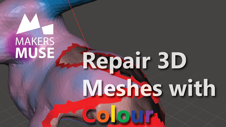 Repair holes in COLOURED 3D mesh files with Meshmixer
